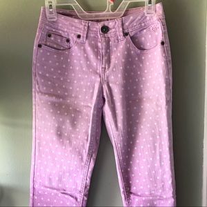 Girls Purple and White Polka Dot Denim Jeans
